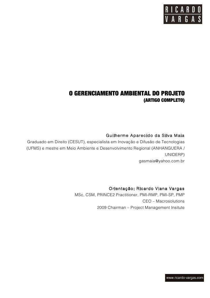 O GERENCIAMENTO AMBIENTAL DO PROJETO                                                         (ARTIGO COMPLETO)            ...