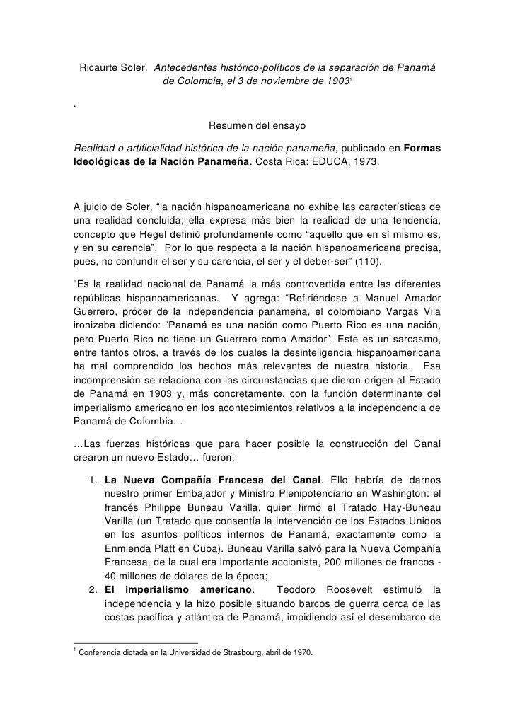 Ricaurte Soler. Antecedentes histórico-políticos de la separación de Panamá                      de Colombia, el 3 de novi...