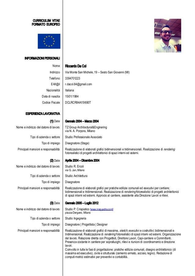 Riccardo Da Col Curriculum Vitae Disegnatore Progettista