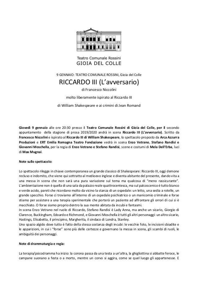 9 GENNAIO: TEATRO COMUNALE ROSSINI, Gioia del Colle RICCARDO III (L'avversario) di Francesco Niccolini molto liberamente i...