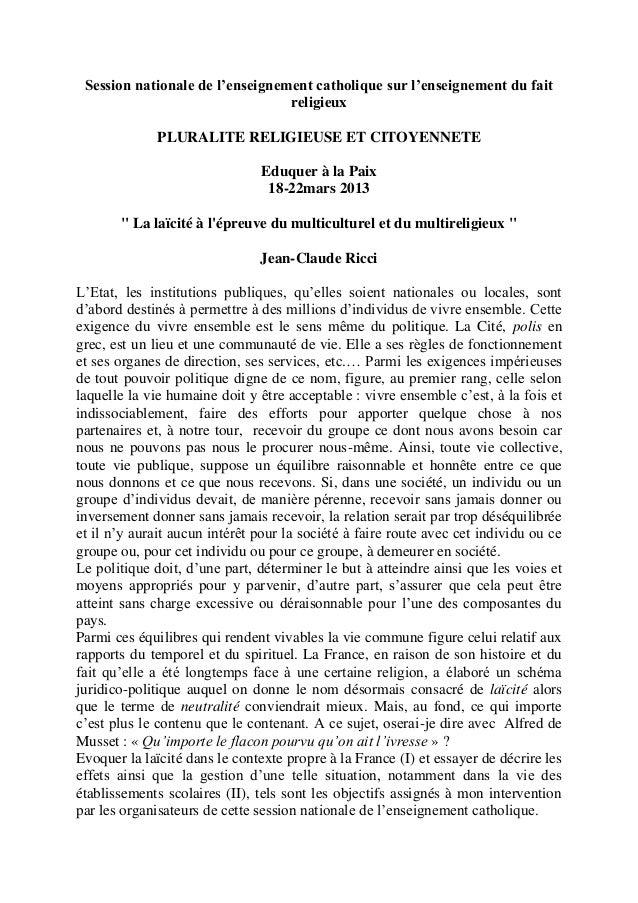 Session nationale de l'enseignement catholique sur l'enseignement du faitreligieuxPLURALITE RELIGIEUSE ET CITOYENNETEEduqu...