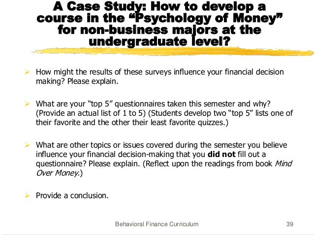 Questionnaire on behavioral finance