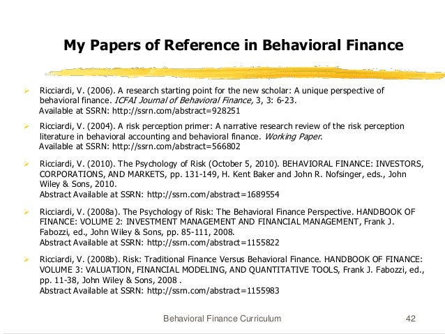 Syllabus behaviour finance