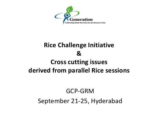 GCP-GRMSeptember 21-25, HyderabadRice Challenge Initiative&Cross cutting issuesderived from parallel Rice sessions