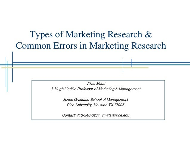 Types of Marketing Research and their Application