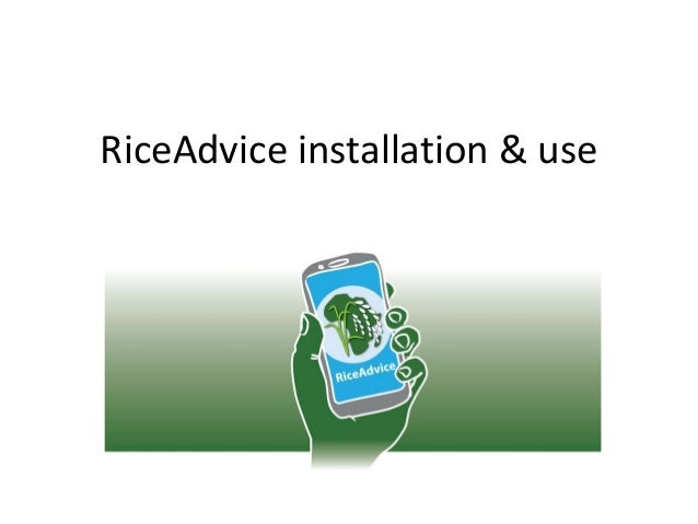 RiceAdvice installation & use