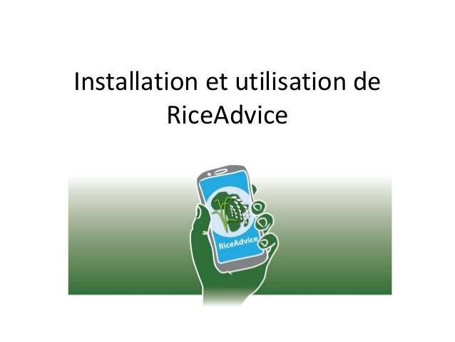 Installation et utilisation de RiceAdvice