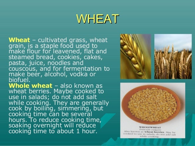 WHEATWHEAT Wheat – cultivated grass, wheat grain, is a staple food used to make flour for leavened, flat and steamed bread...