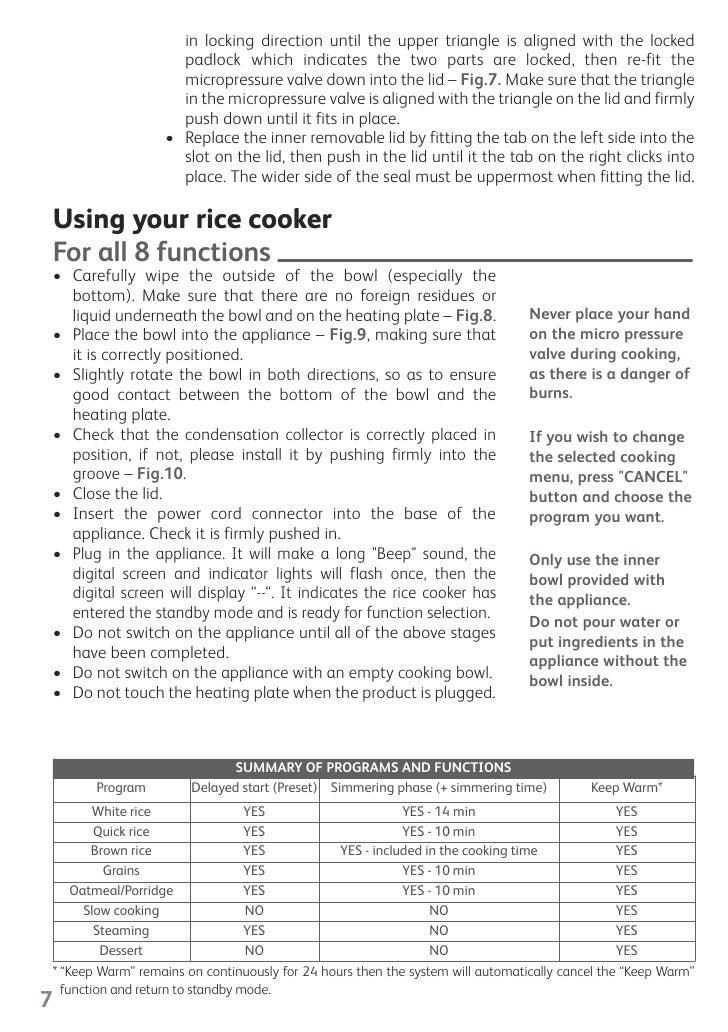tefal rice cooker 8 in 1 manual rh slideshare net Wolfgang Puck Bistro Rice Cooker Rice Cooker Instruction Manual