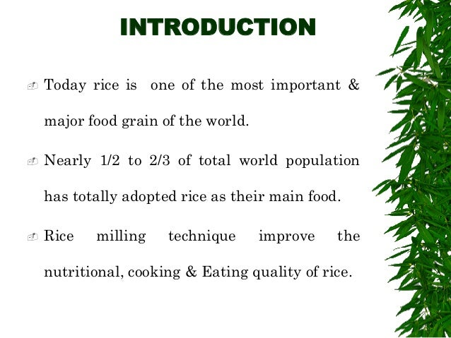 Rice mill ppt by om 4th year 2 introduction today rice toneelgroepblik Gallery