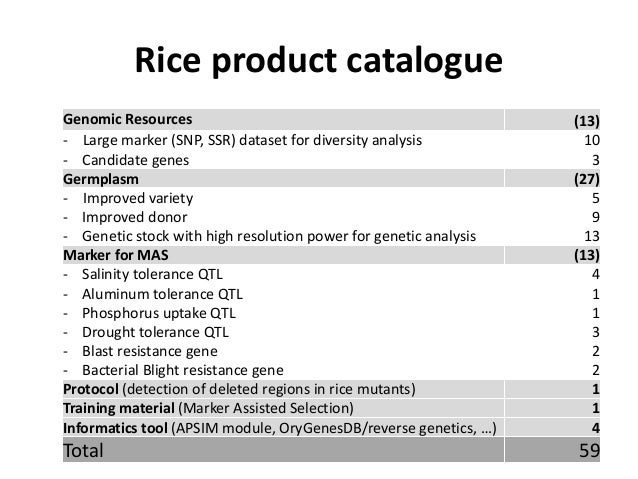 Rice product catalogue Genomic Resources (13) - Large marker (SNP, SSR) dataset for diversity analysis 10 - Candidate gene...