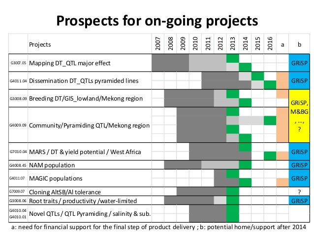 Prospects for on-going projects a: need for financial support for the final step of product delivery ; b: potential home/s...