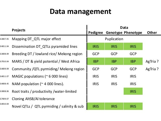 Data management Projects Data Pedigree Genotype Phenotype Other G3007.05 Mapping DT_QTL major effect Puplication G4011.04 ...