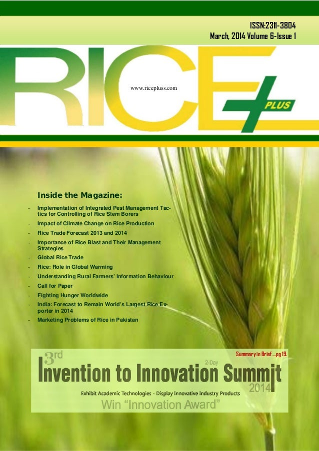 www.ricepluss.com ISSN:2311-3804 March, 2014 Volume 6-Issue 1 www.ricepluss.com  Implementation of Integrated Pest Manage...