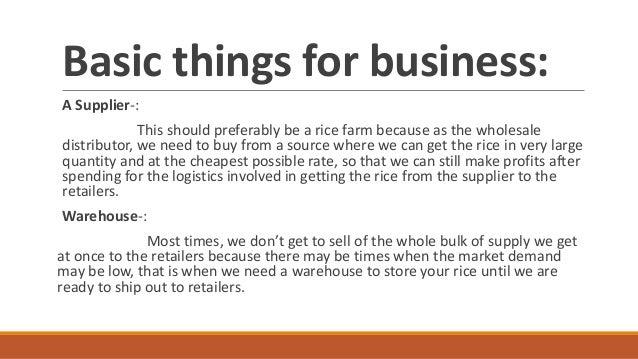 Rice Trading Business Plan