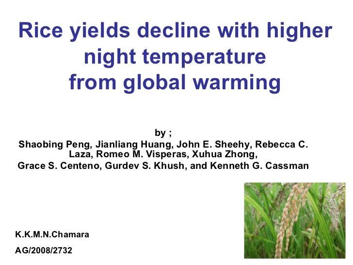Rice yields decline with higher night temperature from global warming by ; Shaobing Peng, Jianliang Huang, John E. Sheehy,...