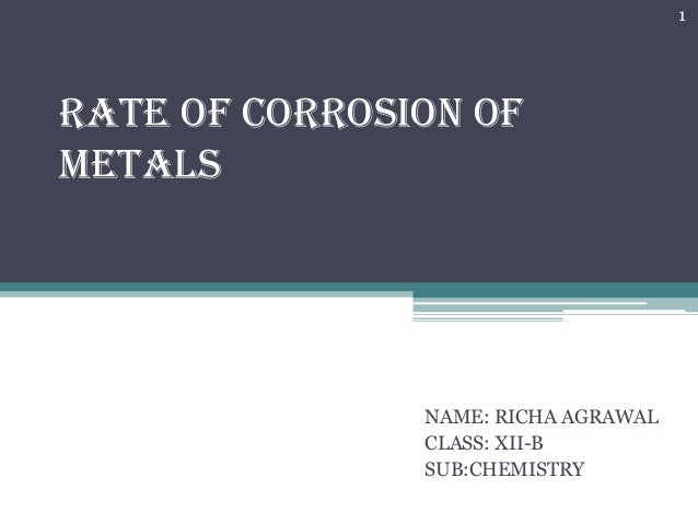 1  Rate of corrosion of metals  NAME: RICHA AGRAWAL CLASS: XII-B SUB:CHEMISTRY