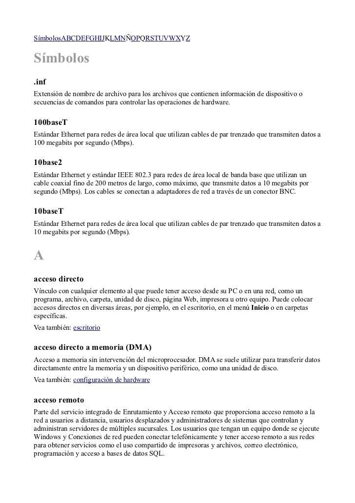 SímbolosABCDEFGHIJKLMNÑOPQRSTUVWXYZSímbolos.infExtensión de nombre de archivo para los archivos que contienen información ...