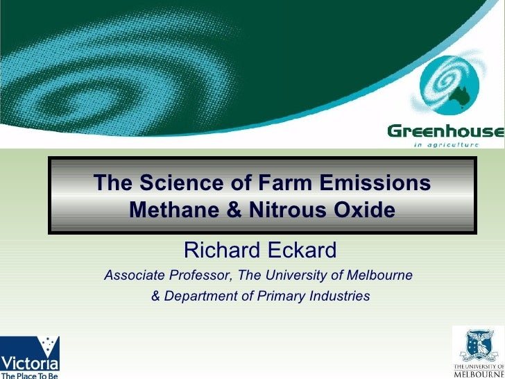 The Science of Farm Emissions Methane & Nitrous Oxide Richard Eckard Associate Professor, The University of Melbourne  & D...