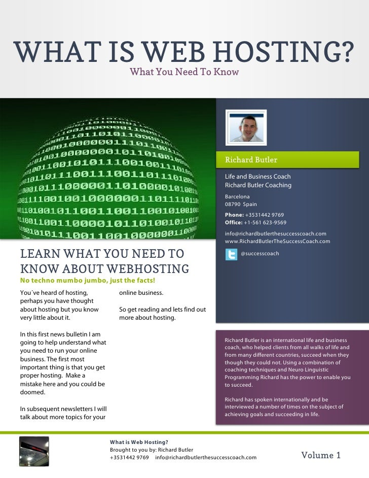 WHAT IS WEB HOSTING?                     What You Need To Know                                                            ...