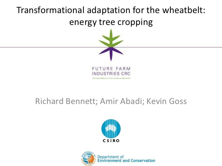 Transformational adaptation for the wheatbelt:            energy tree cropping    Richard Bennett; Amir Abadi; Kevin Goss