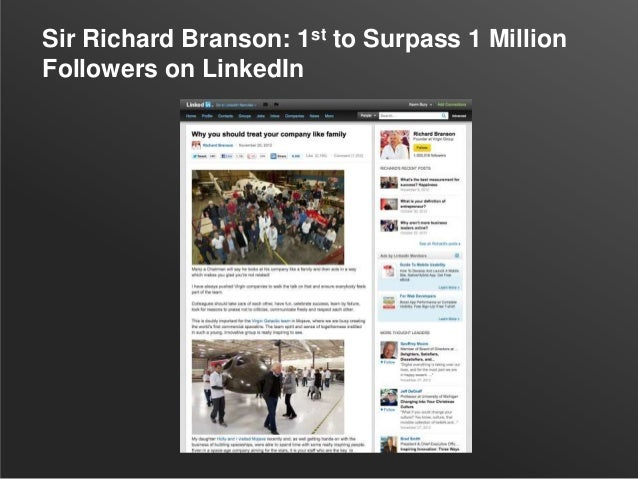 Sir Richard Branson: 1st to Surpass 1 MillionFollowers on LinkedIn