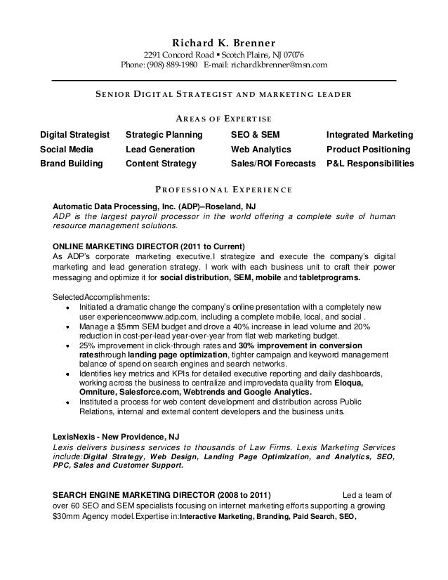 richard k brenner 2291 concord road scotch plains - Digital Strategist Resume