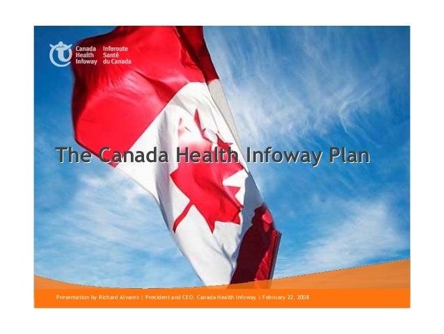 The Canada Health Infoway Plan1   Presentation by Richard Alvarez | President and CEO, Canada Health Infoway | February 22...