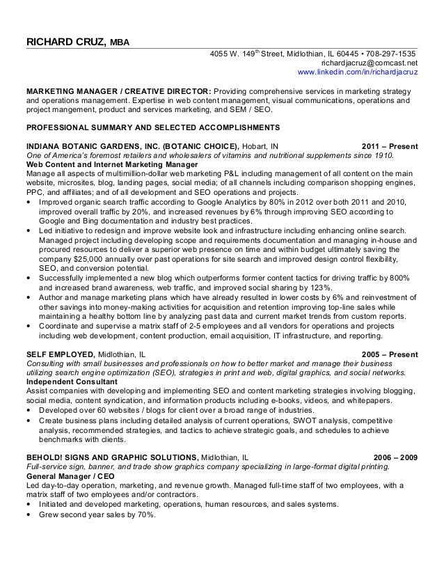 Rich Cruz Chicago Resume