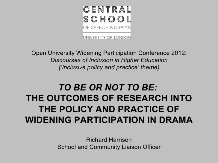 Open University Widening Participation Conference 2012:       Discourses of Inclusion in Higher Education          ('Inclu...