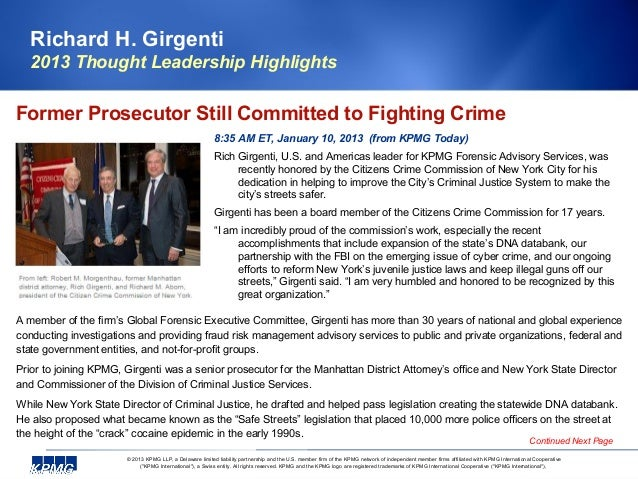 Richard H. Girgenti   2013 Thought Leadership HighlightsFormer Prosecutor Still Committed to Fighting Crime               ...