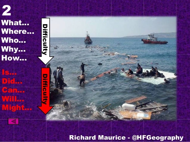 2 What… Where… Who… Why… How… Is… Did… Can… Will… Might… Richard Maurice - @HFGeography DifficultyDifficulty