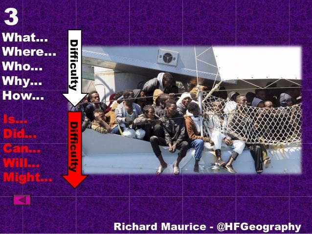 3 What… Where… Who… Why… How… Is… Did… Can… Will… Might… Richard Maurice - @HFGeography DifficultyDifficulty