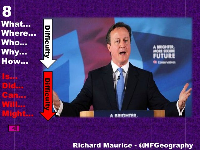 8 What… Where… Who… Why… How… Is… Did… Can… Will… Might… Richard Maurice - @HFGeography DifficultyDifficulty