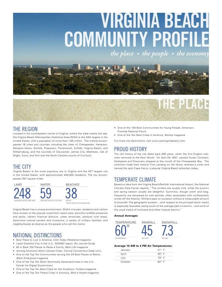 VIRGINIA BEACH                                                  COMMUNITY PROFILE                    the place           •...