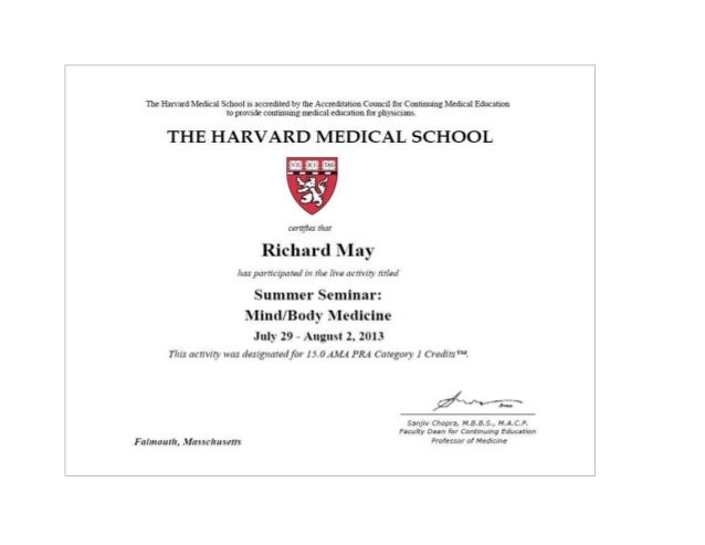 Dr Richard May   Harvard Medical School Cme Certificate