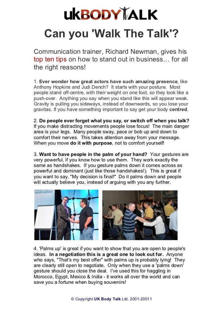 London conference richard newman body talk top ten tips can you walk the talkcommunication trainer richard newman gives histop ten tips solutioingenieria Gallery