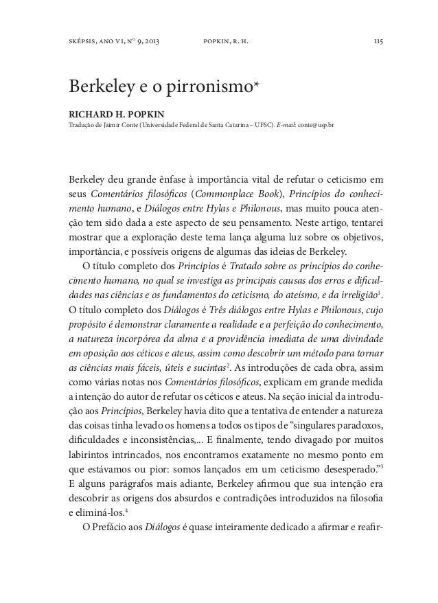 115sképsis, ano vi, no9, 2013 popkin, r. h.Berkeley e o pirronismo*RICHARD H. POPKINTradução de Jaimir Conte (Universidade...