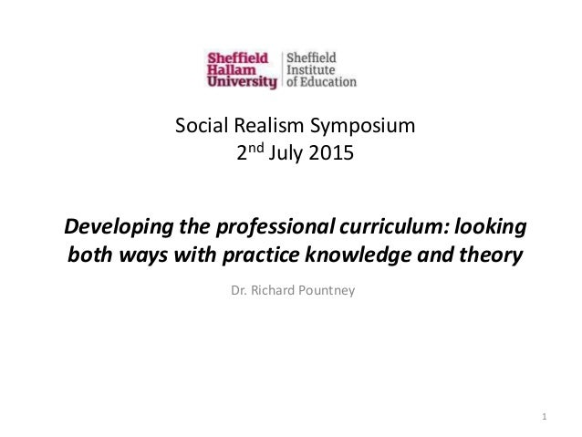 Developing the professional curriculum: looking both ways with practice knowledge and theory Dr. Richard Pountney 1 Social...