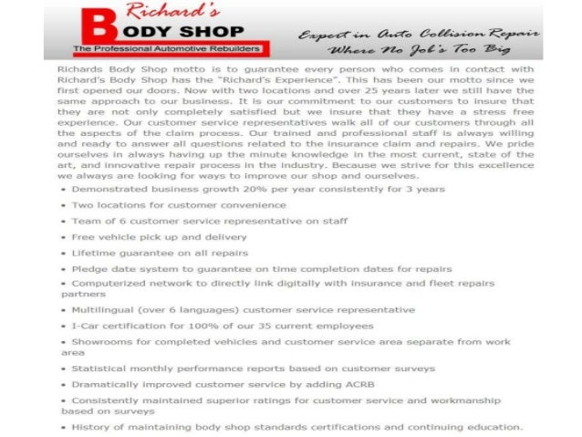 Richards Body Shop >> Richards Body Shop On North Professional Auto Services And Collisio