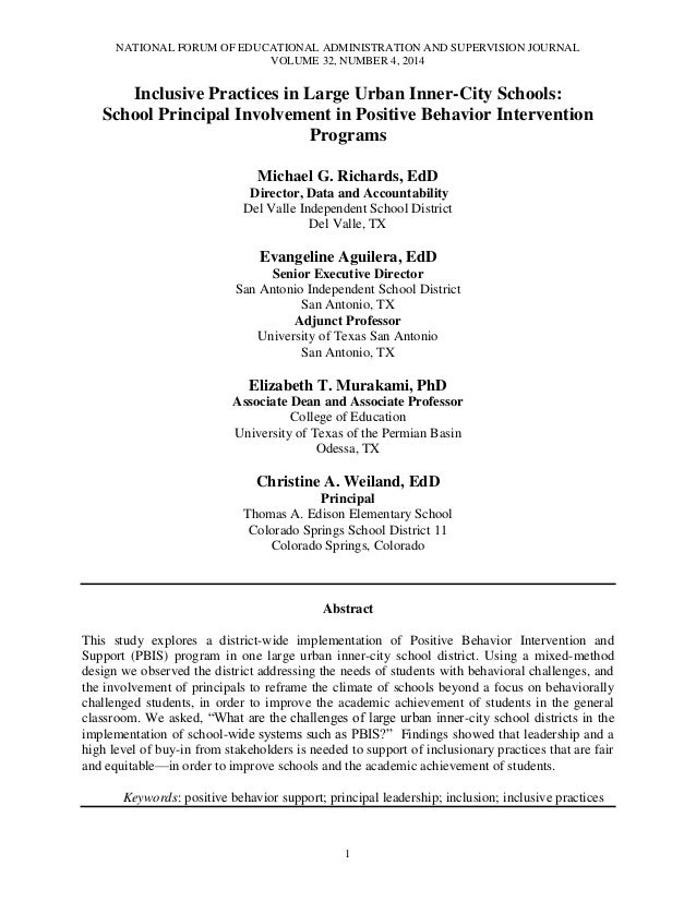 NATIONAL FORUM OF EDUCATIONAL ADMINISTRATION AND SUPERVISION JOURNAL VOLUME 32, NUMBER 4, 2014  Inclusive Practices in Lar...