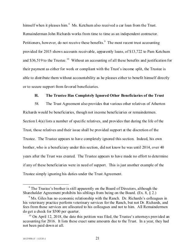 Richards Trust Petition
