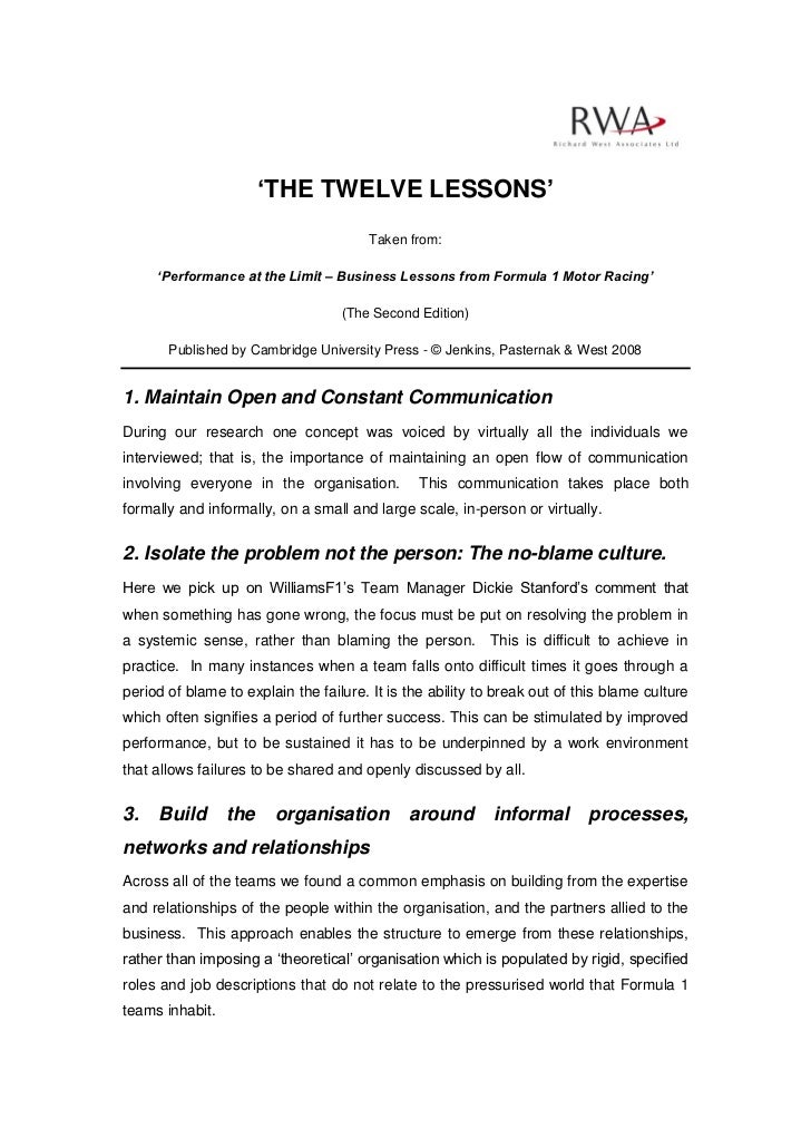 'THE TWELVE LESSONS'                                        Taken from:     'Performance at the Limit – Business Lessons f...