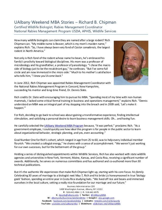UAlbany Weekend MBA Stories – Richard B. ChipmanCertified Wildlife Biologist, Rabies Management CoordinatorNational Rabies...