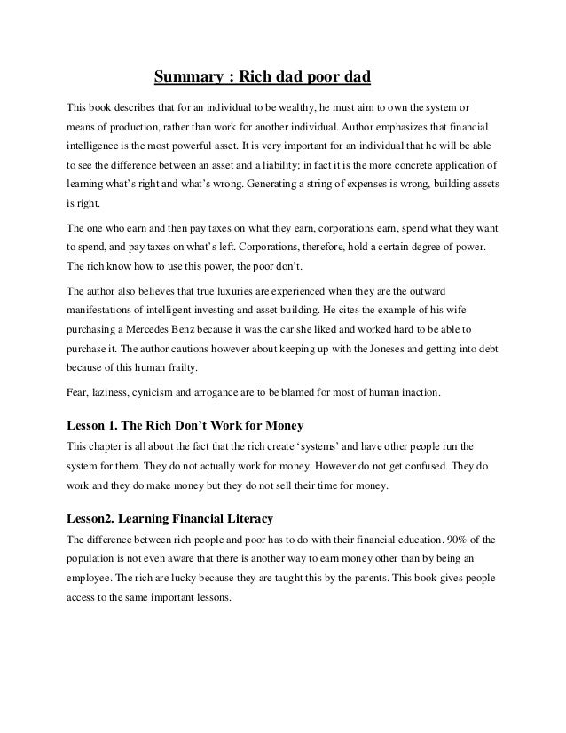 rich dad poor dad summary  2 summary rich dad poor dadthis book describes