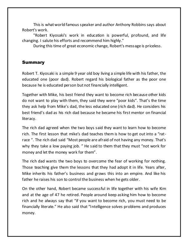 Rich dad poor dad essay
