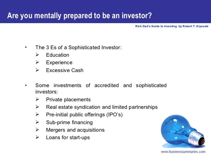 Robert kiyosaki guide to investing