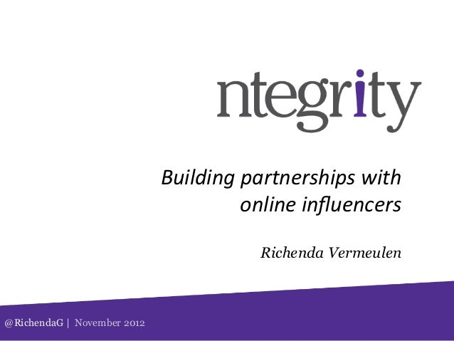 Building partnerships with                                          online influencers                           ...