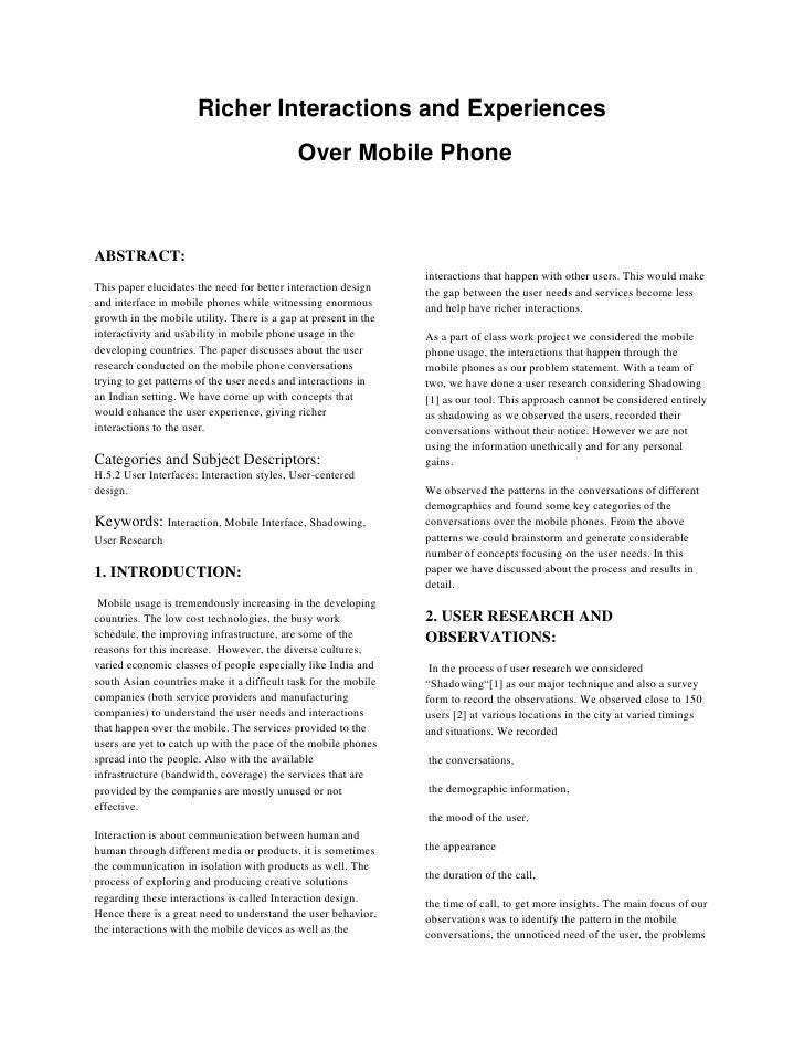 Richer Interactions and Experiences                                             Over Mobile Phone    ABSTRACT:            ...