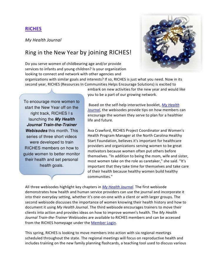 RICHESMy Health JournalRing in the New Year by joining RICHES!Do you serve women of childbearing age and/or provideservice...